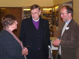 Jack Spong talking with a CRC officer and the Vicar